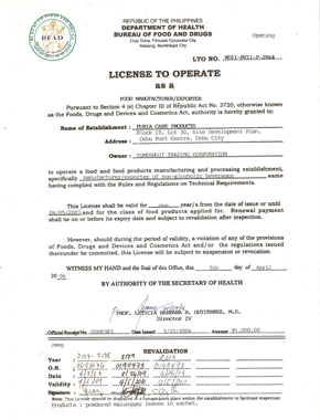 BUREAU OF FOOD AND DRUGS  License To Operate